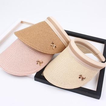 2019 New Woman's Sun Hats Hand Made DIY Straw Bowknot Visor Caps Parent-Child Summer Cap Casual Shade Hat Empty Top Hat Beach