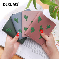 DERLIMS New Thin Ladies Wallet Short Driver License Package Small Fresh Student Plant Pattern Card Pack
