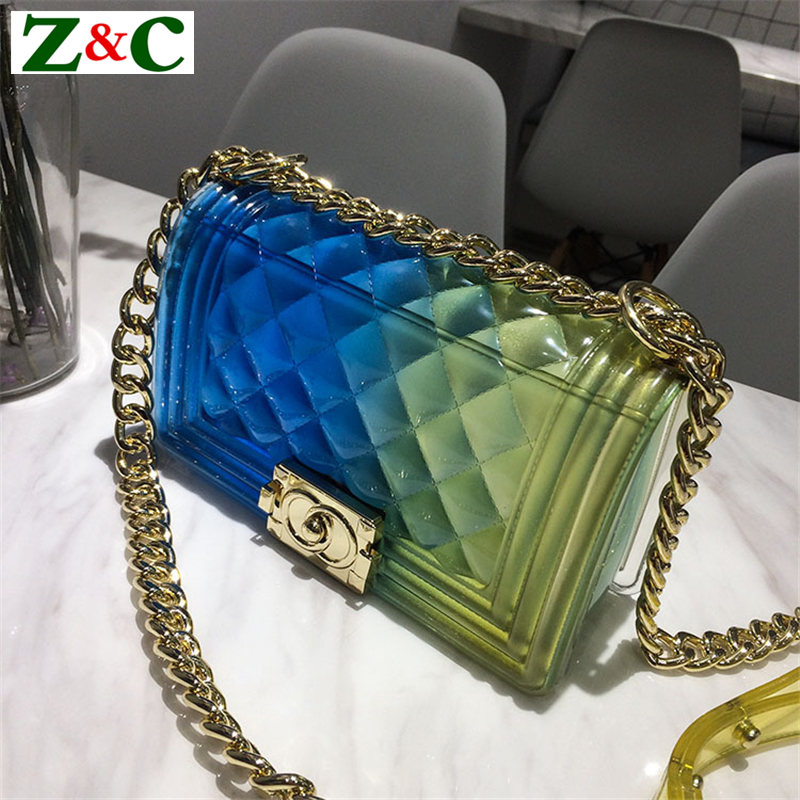 New Fashion Girl Messenger Bag PVC Chic Colorful Matte Jelly Chain Bags Luxury Handbags Diamond Lattice Women Bags Channels Bags ...