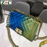 New Fashion Girl Messenger Bag PVC Chic Colorful Matte Jelly Chain Bags Luxury Handbags Diamond Lattice Women Bags Channels Bags