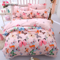 3pcs/4pcs Butterfly Bedroom Bedding Set Bedclothes Polyester Bed Sheet /Pillowcase and Duvet Cover Sets Twin/Full/Queen/King