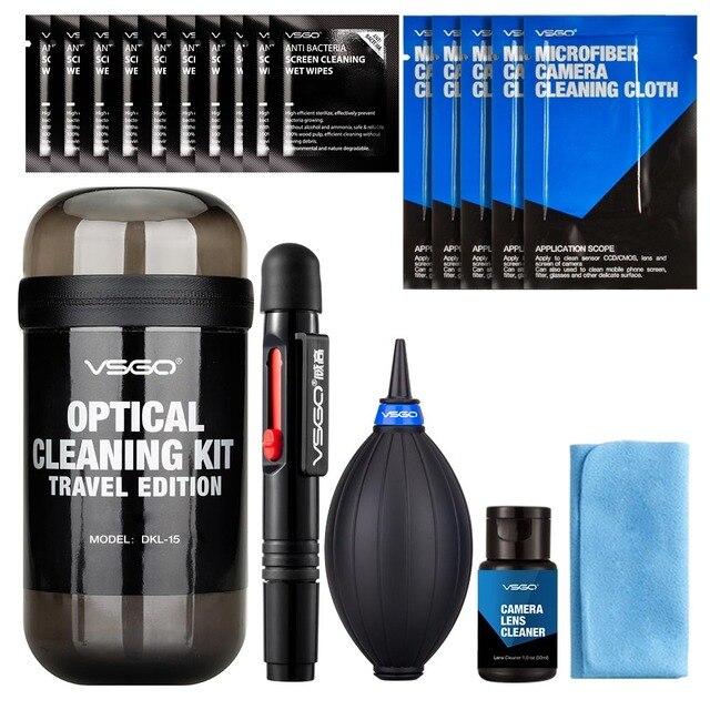 VSGO Kit de limpieza de lente Portable y cámara, traje de viaje para Nikon, Canon, Sony, Fujifilm, limpieza de cámara Digital