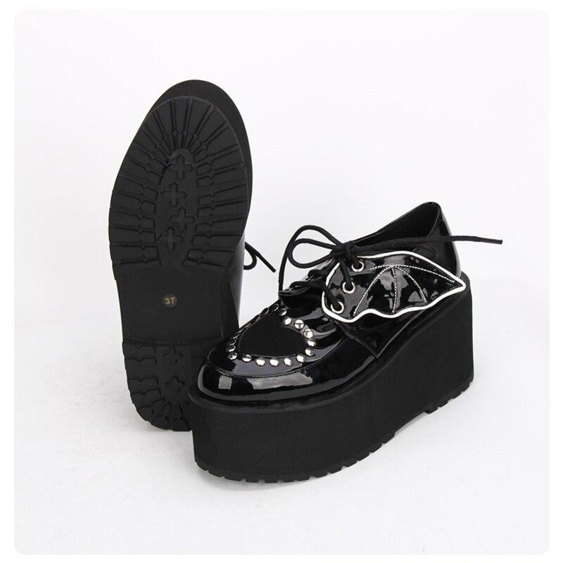 Ayakk.'ten Kadın Pompaları'de Japon Harajuku Gotik Punk Lolita Sonbahar Kış Kızlar Ayakkabı Kalın Topuk Platformu dantel up Ayakkabı'da  Grup 3