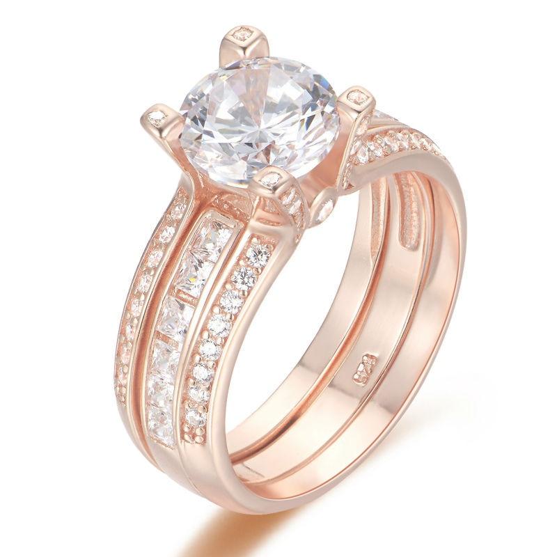 Newshe Rose Gold Color Solid 925 Sterling Silver Wedding Ring Set