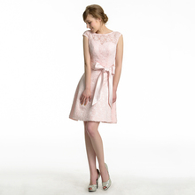 Dressv Pink Junior Bridesmaid Dress Knee Length Bow Lace Short Mini A Line  Custom Wedding Party f4b1c681cd52