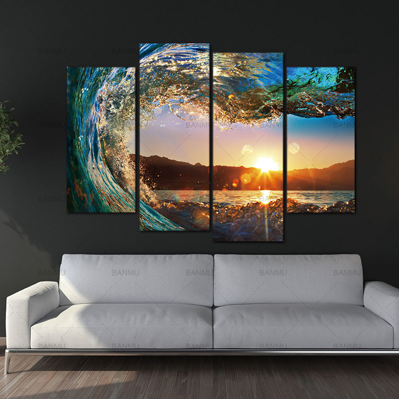Wall Picture Canvas painting wall art 4 Panel Modern Seascape Painting Canvas Art Sea wave Landscape For Bed Room No Frame