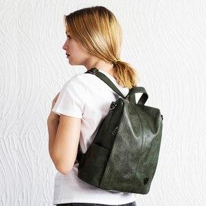 Image 2 - POMELOS ظهره الإناث المرأة بولي PU حقيبة ظهر من الجلد مكافحة سرقة عالية الجودة سوفتباك الحضرية موضة حقيبة ظهر للفتيات النساء