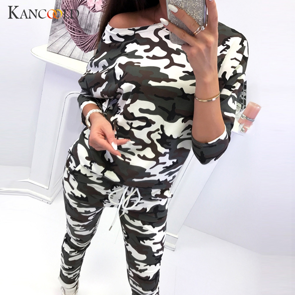 KANCOOLD Set Women 2PCS Camouflage Tracksuits Set Lounge Wear Ladies Top Suit Pant Plus Size Fashion New Women Set 2019FEB5