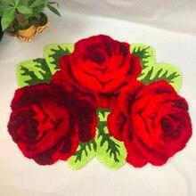 Новое поступление в форме красной розы Противоскользящий ковер художественный ковер 80*60 см