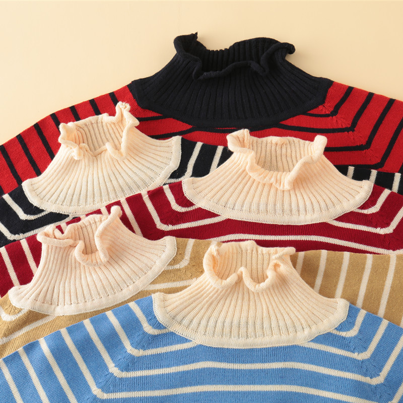 Female Long Striped Cashmere Sweater Women Half Turtleneck Knitted Christmas Sweaters And Pullovers Fashion Tops Warm