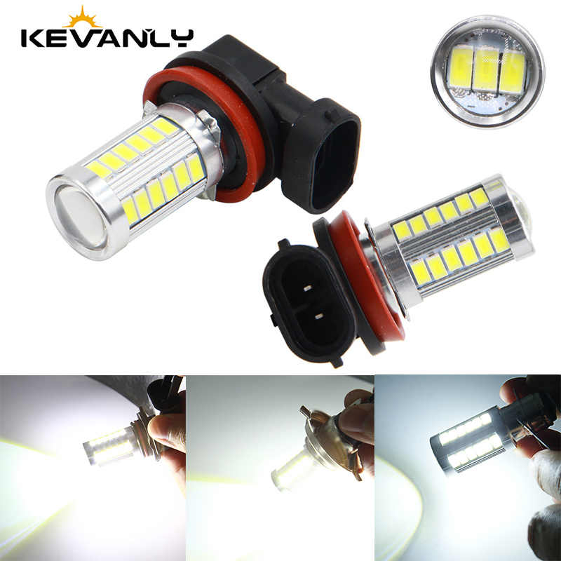 KEVANLY 1PCS Car Fog Lamp H8 H11 Led 9005 Hb3 9006 Hb4 H4 H7 1157 P13w H16 5630 33SMD Daytime Running Light Turning Parking Bulb