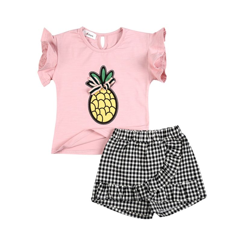 Summer Baby Girls Set Butterfly Sleeve Pineapple Print T-shirts + Shorts 2pcs Infant Girls Toddler Girls Clothing Set pudcoco 2pcs set cute infant baby kids girls summer outfits big flower t shirts tassels shorts toddler girls casual clothing set
