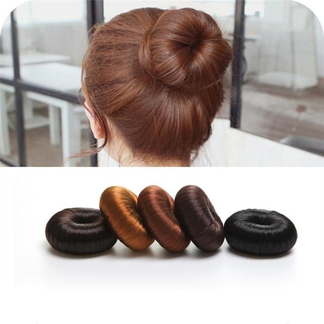 Hot Women Synthetic Fiber Hair Bun Donuts Ring Blonde Hair Extension