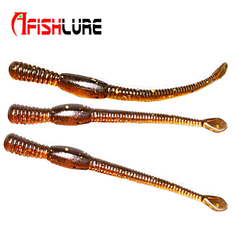 24pcs/lot 80mm 1.1g Afishlure Simulation Earthworm fishing earthworms artificial Bait Worms Lifelike fishing Lure brown lifelike earthworm style fishing baits 5 pcs