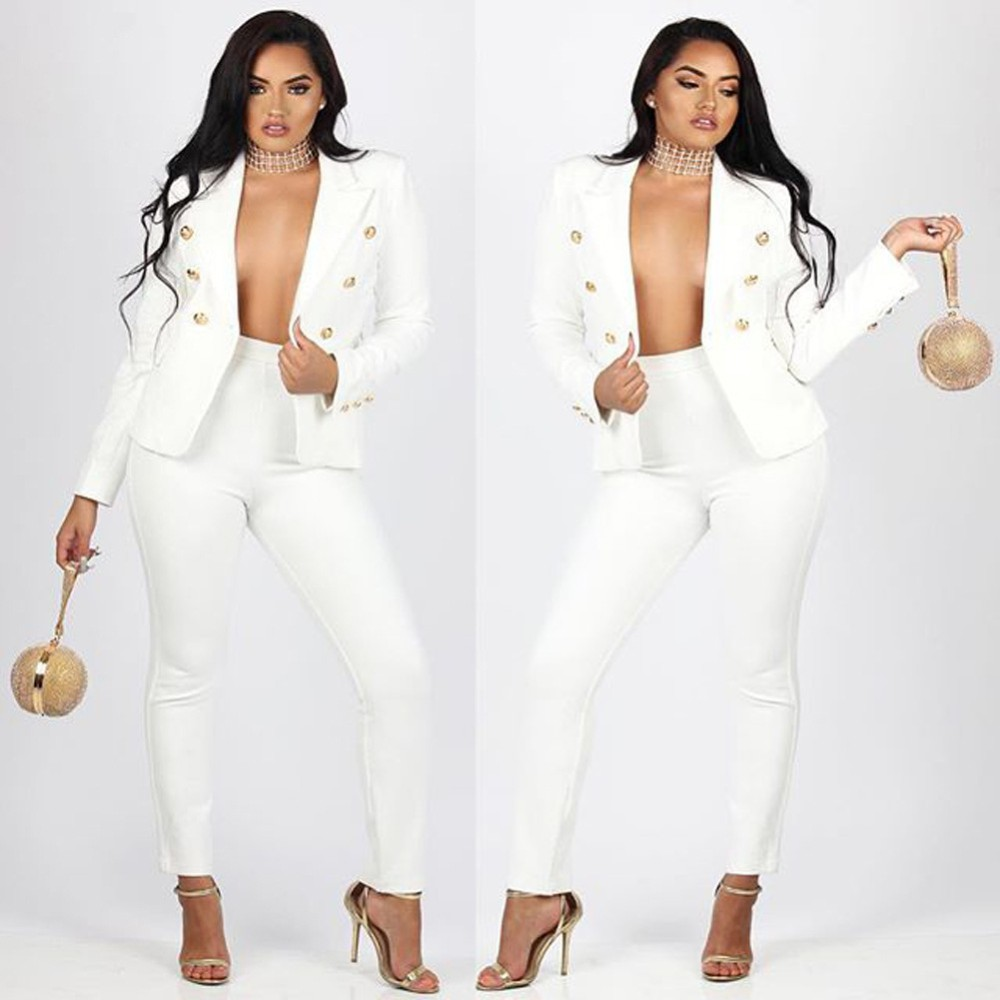 2 Piece Set Women Suit 17 New Formal Office Work Wear Blazer Jacket Tops And Skinny Pants Women Suits Two Piece Set 5