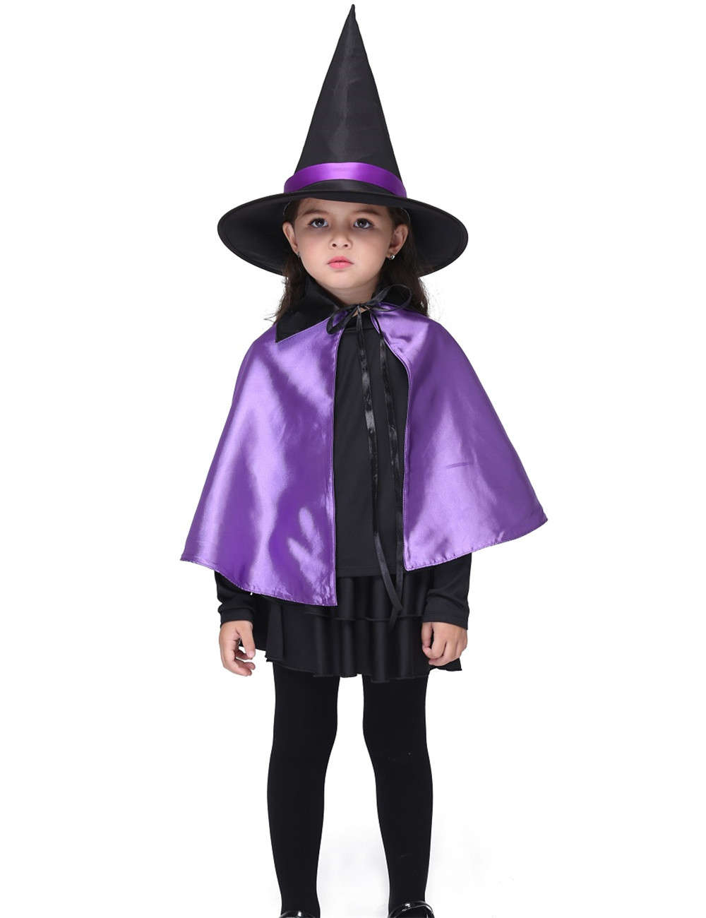 Witch Costume Halloween Costume For Kids Stage & Dance Wear Girls Short Sleeve Skirt With Cloak Toddler Party Cosplay