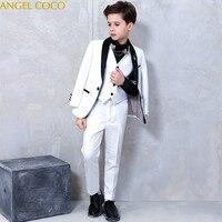 High Quality Fashion Gentleman Style Custom Boy Suits & Blazers Tailor Jacket Boy 6 Piece Black White Splice Costume Show