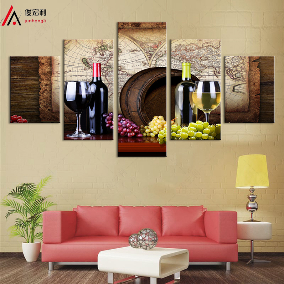Large Framed Wine and Barrels Drink Canvas Print 5 pieces Home Decor Wall Art frame paintings modern pictures room decoration