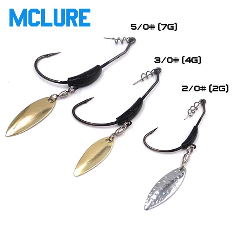 5pcs/lot fishing Crank hook with the lead with Metal Spoon sequins Add weight lead lures crank hook Soft bait  Soft worm hooks
