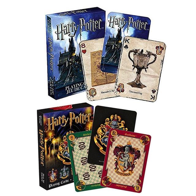 1 piezas Harri Potter jugando tarjetas de juego de Casa de Hogwarts colección de insignias Castillo crestas 2 patrones inglés tarjetas juego colección