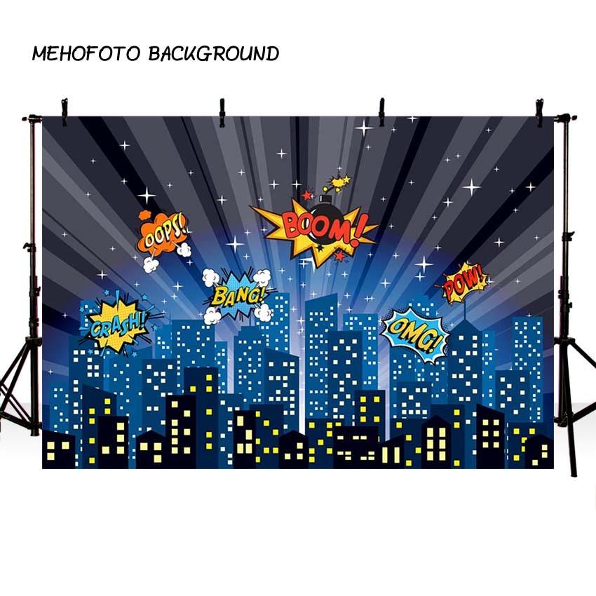 MEHOFOTO Superhero City Theme Photography Backdrop Children Birthday Party Backdrop for Photo Studio Background Custom G-158