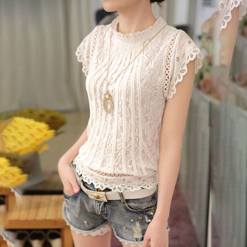 Ladies Office Shirt White Lace Blouse Short Sleeve Stand Collar Women Shirts Lace Patchwork Crochet Shirt IU804234