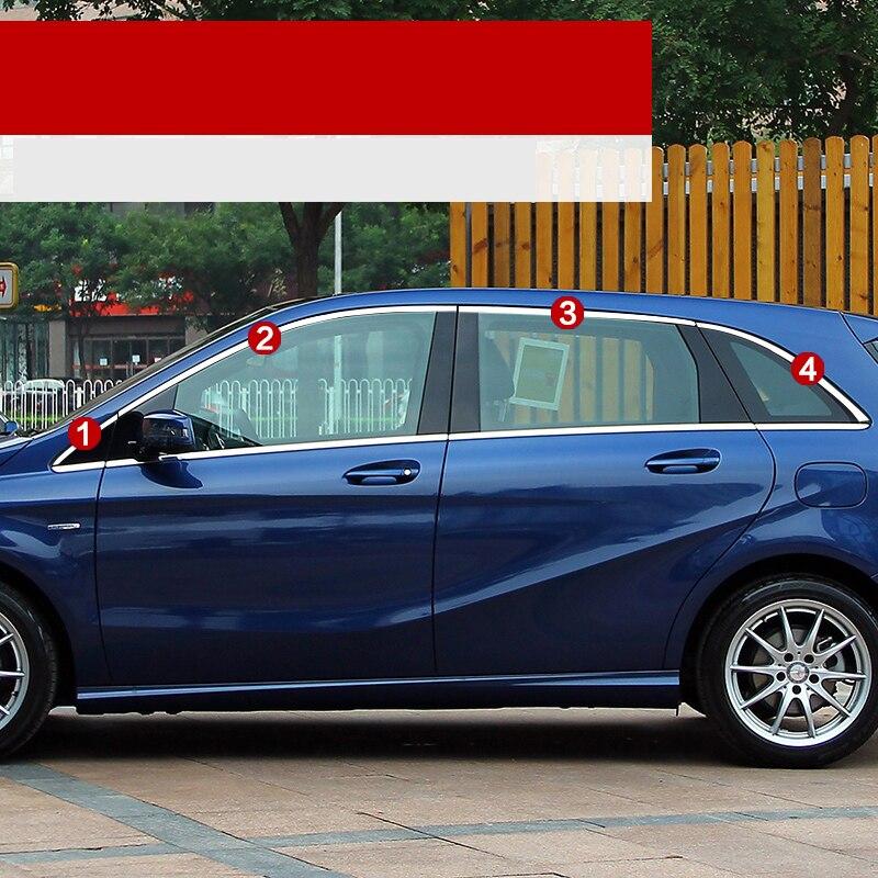 Lsrtw2017 304 en acier inoxydable voiture fenêtre garnitures pour mercedes benz B180 B200 B220 B250 W246 2012 2013 2014 2015 2016 2017 2018