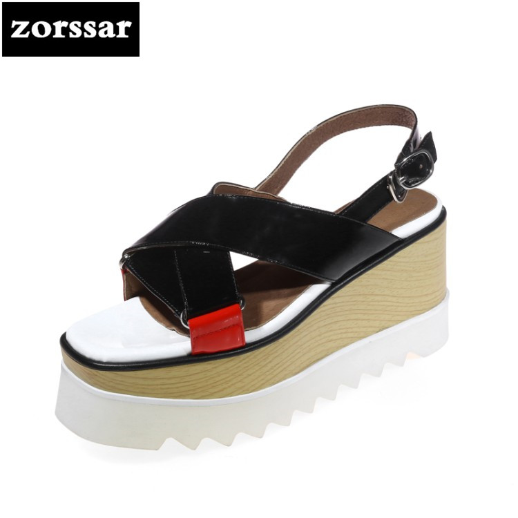 {Zorssar} Genuine Leather Wedges Women Sandals Summer Shoes Open Toe platform High heels Roman Gladiator Sandals woman shoes lenkisen genuine leather big size wedges summer shoes gladiator super high heels straw platform sweet style women sandals l45