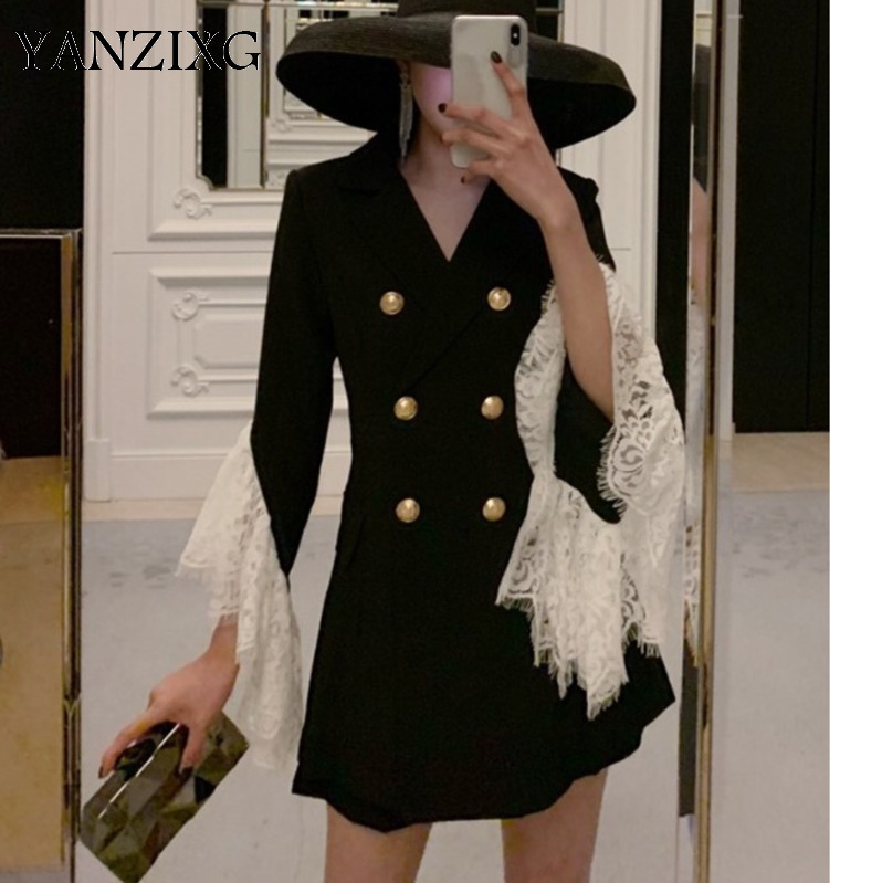 Femme ensemble costume Blazer ensembles dentelle couture Flare manches Long costume manteaux taille haute Shorts 2 pièce ensemble femmes 2019 nouveau Z065
