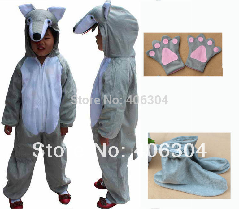 Free shipping,Children animal wolf costume Halloween party cosplay wolf clothes for kid Garment shoes gloves