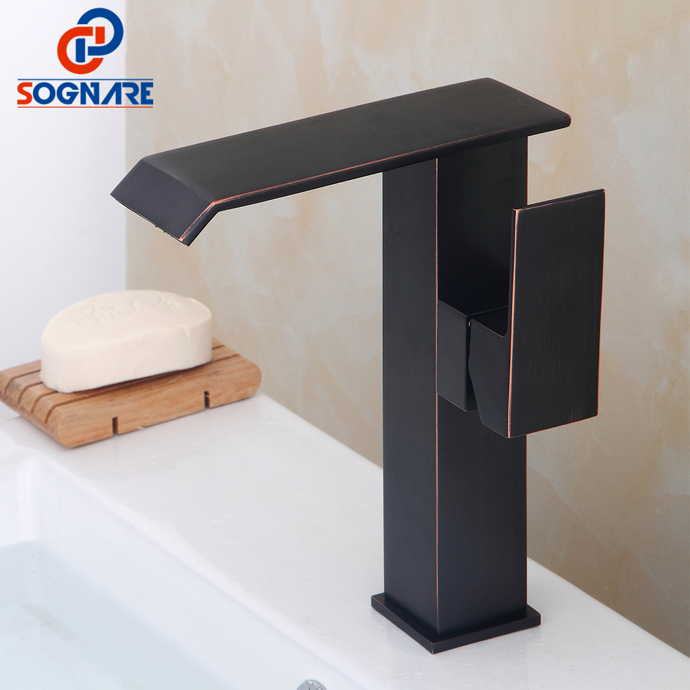 SOGNARE Square Waterfall Bathroom Basin Faucet Deck Mounted Waterfall Single Hole Mixer Taps Both Cold and Hot Water Crane,Black flg modern multi color pull out bathroom basin faucet single hole cold and hot water deck mounted tap basin faucet mixer taps