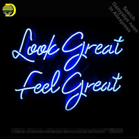 Look Great Feel Great Neon Sign Advertise Neon Bulbs Beer Glass Tube Handcrafted Neon Glass Tubes Recreation Room Lamps 17x14