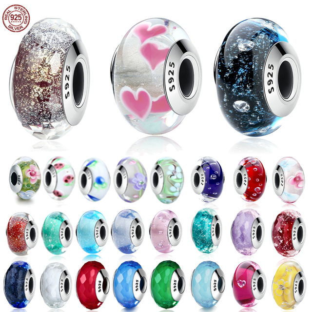 Collection 925 Sterling Silver 43 Colors Luminous Maruno Glass Beads fashion Charm fit Original Pandora Bracelet Jewelry