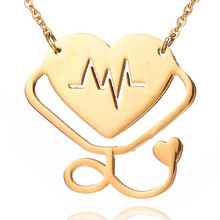 LINSOIR 2017 New Love Heart Stethoscope Necklace Pendant for Women Rose Gold Color Stainless Steel Medical Stethoscope Necklaces