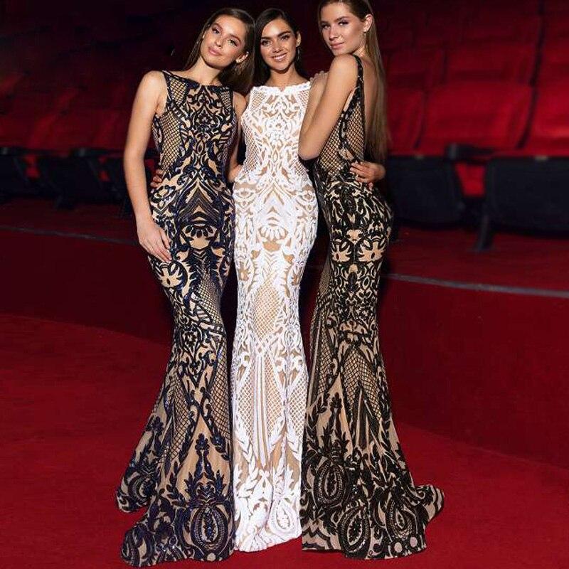 Haute Qualité Femmes Noir Blanc Paillettes Robe de Célébrité Maxi Sans Manches Moulante Cocktail De Mariage Robe De Soirée D'été Robes 2018