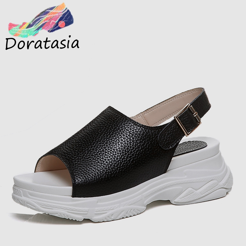 DORATASIA 2019 New Summer Elegant Women Flat Platform Sandals Genuine Cow Leather Comfortable Summer Wedges Beach