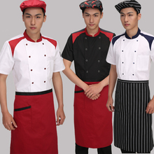 Hotel Chef Wear Short Sleeved Men and Women Clothing Chef Uniform Shoulder Double Breasted Frock Summer Kitchen clothes