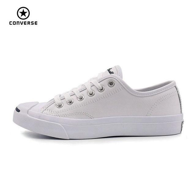 Converse Asli Baru Tersenyum Gaya JACK PURCELL Sepatu Pria dan Wanita  Unisex PU Kulit Skateboard Sepatu 410a46693c