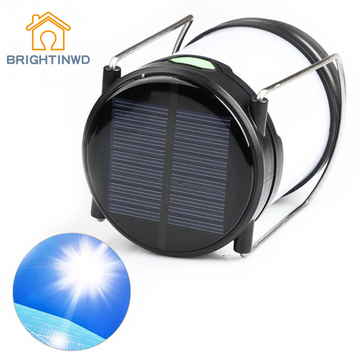 BRIGHTINWD Solar Camping Lantern Outdoor Garden Lamp Emergency Lights Waterproof USB Lamp Portable LED Rechargeable Camping Lamp