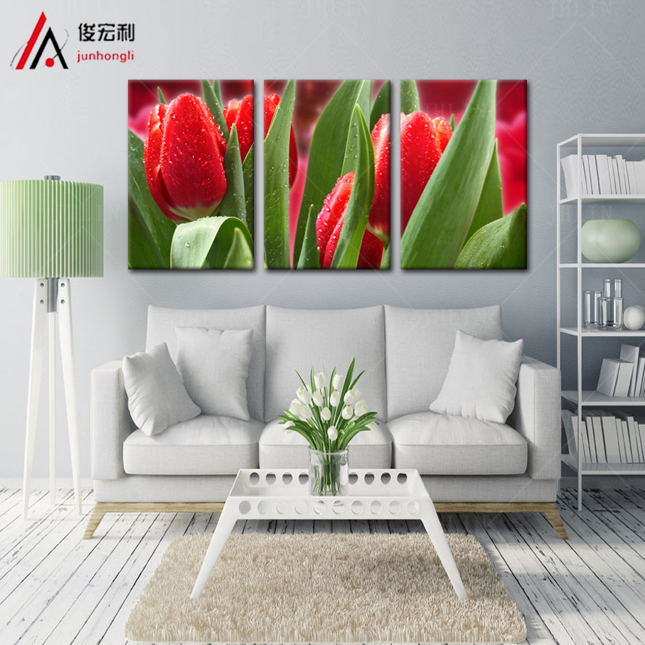 piece modular picture definition red tulips bright dripping large