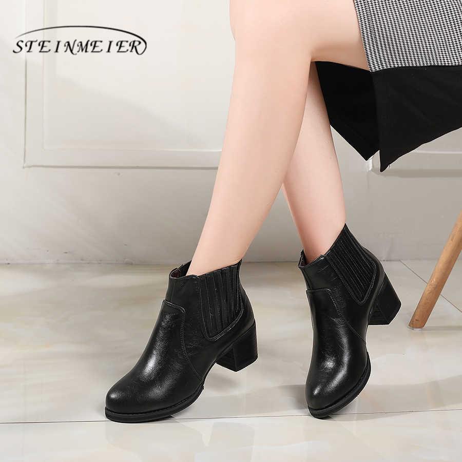 Hakiki İnek Deri Ayak Bileği kadın chelsea Çizmeler Rahat kaliteli yumuşak ayakkabı Marka Tasarımcısı El Yapımı 2018 kürklü kışlık botlar