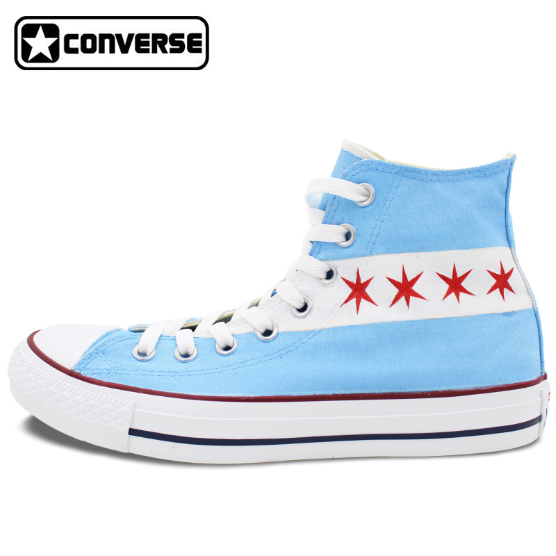 Prix pour D'origine Converse All Star Toile Chaussures USA Drapeau De Chicago Skyline Design Personnalisé Peint À La Main Sneakers Hommes Femmes Chaussures Unique Cadeau