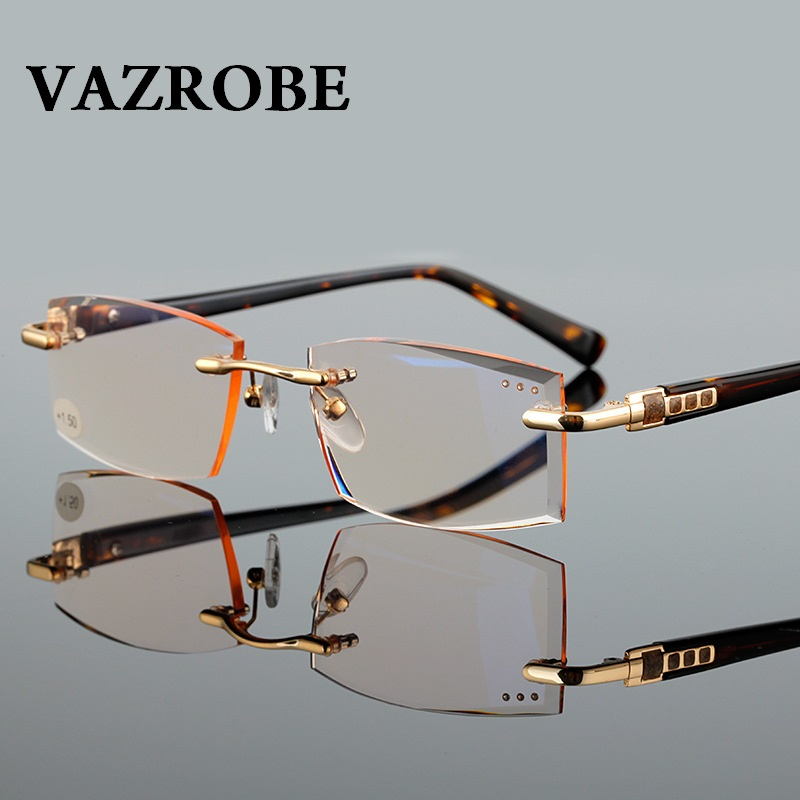 Vazrobe Resin Reading Glasses Men Women Rimless Glasses with Diopters +1.0 +1.5 2.0 2.5 3.0 Anti Glare Eyeglasses for Reader
