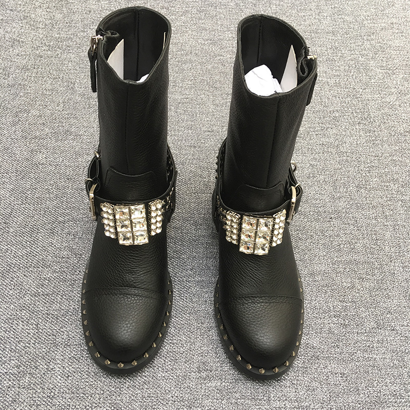 2017 shaduo High Quality Genuine Leather Rhinestone Buckle Rivets Thick Heel Ankle Boots 2017 Fashion Women Boots Motorcycle 2018 new arrival genuine leather fashion boots thick heel winter shoe motorcycle boots rivets party runway women ankle boots l09
