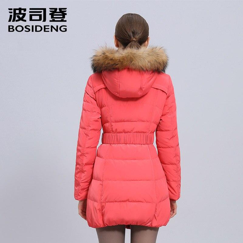 BOSIDENG medium-long down coat fur large raccoon fur collar slim outerwear slim belt hoodie duck down jacket b1401170
