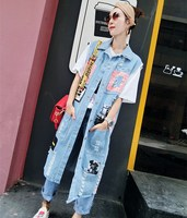 Fashion Spring And Autumn Street Print Hole Jean Jacket Vest Women Casual Loose Sleeveless Long Denim
