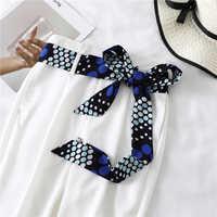 Lengthened Narrow Silk Scarf Women Luxury Brand Skinny Scarves Decorative Belt Ladies Head Band Wrapped Ribbon Fashion Print New