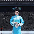 QiFu Yu'Er Azul Princesa de La Dinastía Qing Traje de La Vendimia Traje Chino Hanfu Traje de Camarera de Hotel