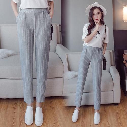 TingYiLi Gray Blue Black Striped   Pants     Capri   Elastic Waist Women   Pants   Elegant Office Lady Work   Pants