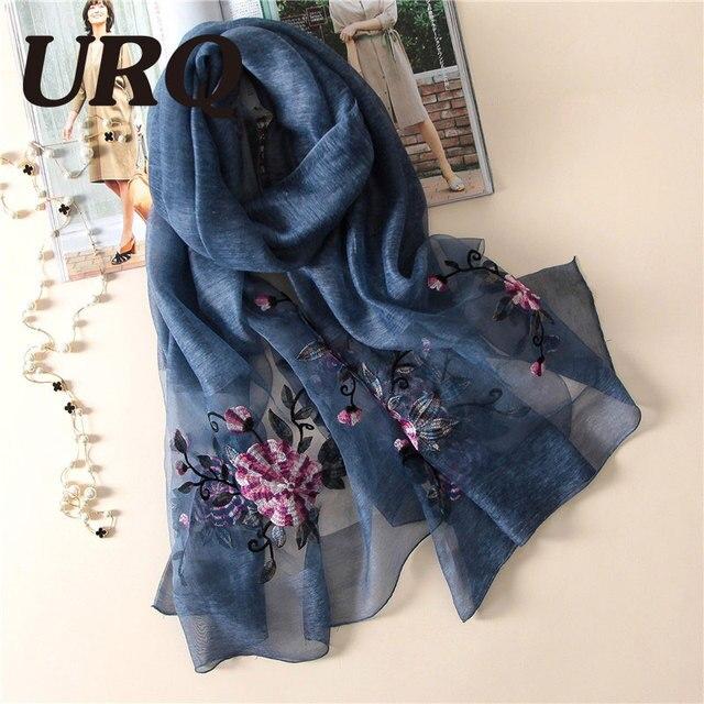 50% Soie Naturelle Écharpe 50% laine Mélange Écharpe pour femmes printemps  grand foulard Brodé 1c6ff77620a